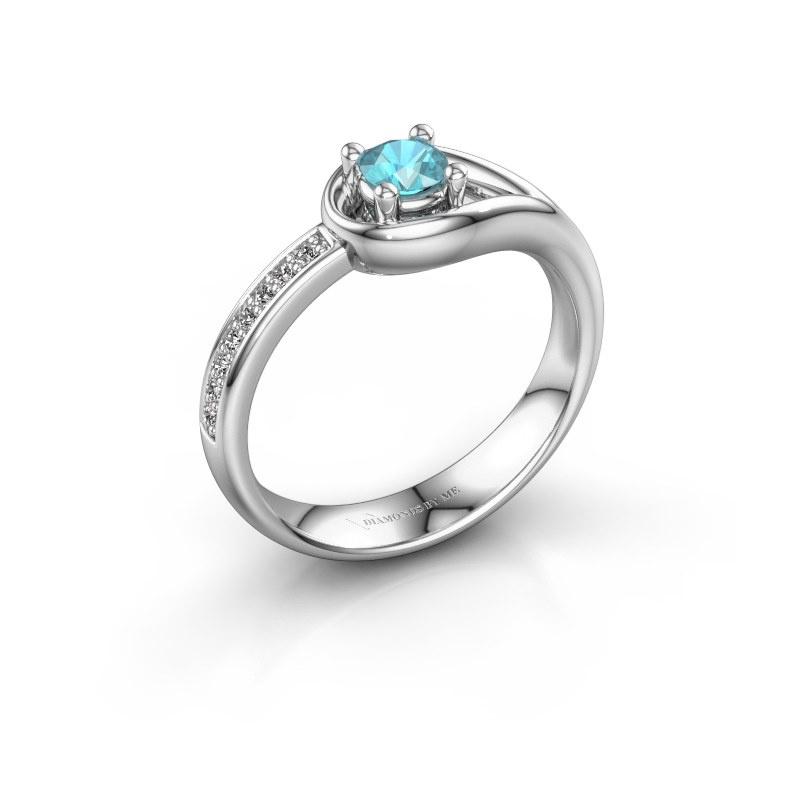 Ring Zara 585 witgoud blauw topaas 4 mm