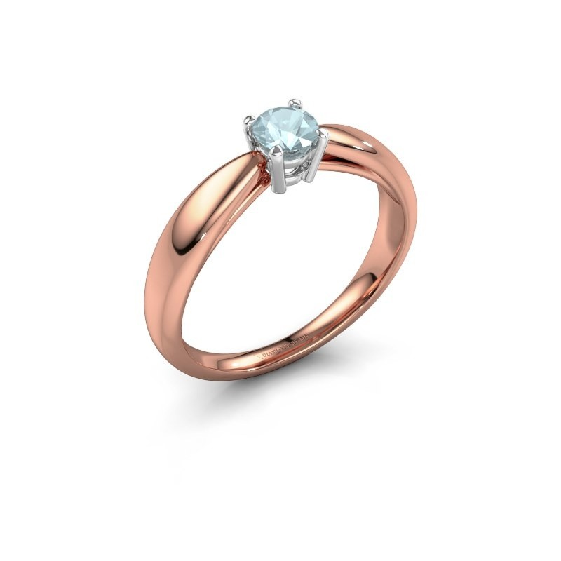 Verlovingsring Nichole 585 rosé goud aquamarijn 4.2 mm