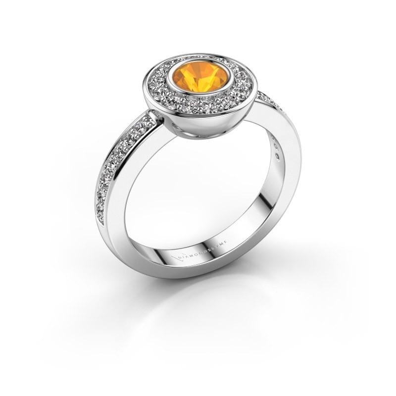 Ring Ivy 585 Weißgold Citrin 5 mm