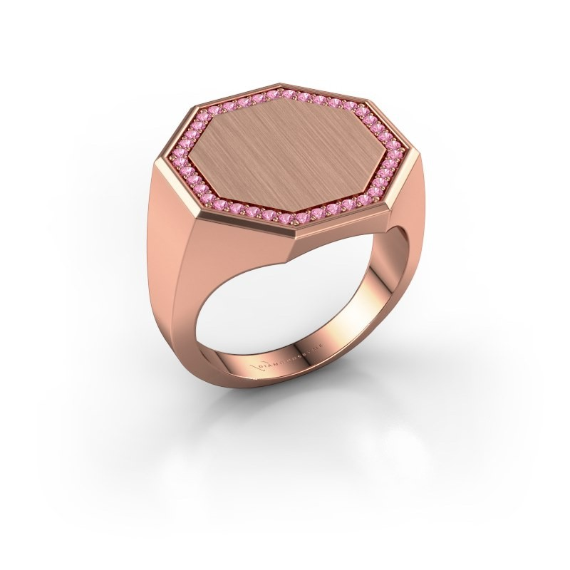 Heren ring Floris Octa 4 375 rosé goud roze saffier 1.2 mm
