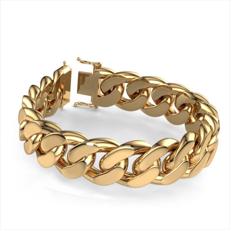 Cuban link armband ±20 mm 585 goud
