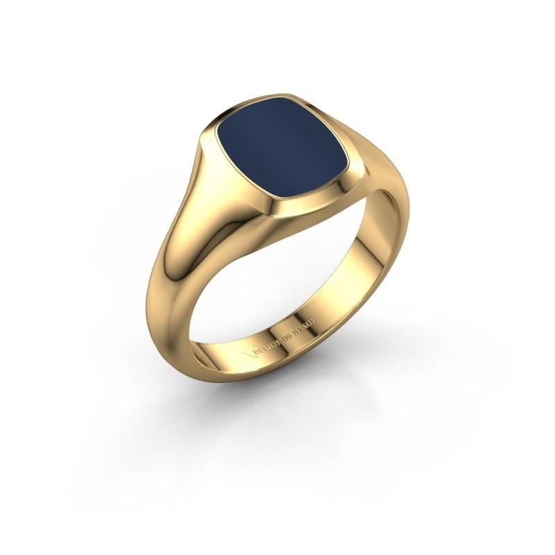 Zegelring Benjamin 1 F 585 goud donker blauw lagensteen 10x8 mm
