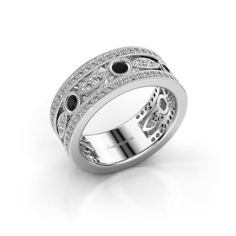 Ring Jessica 585 witgoud zwarte diamant 0.924 crt