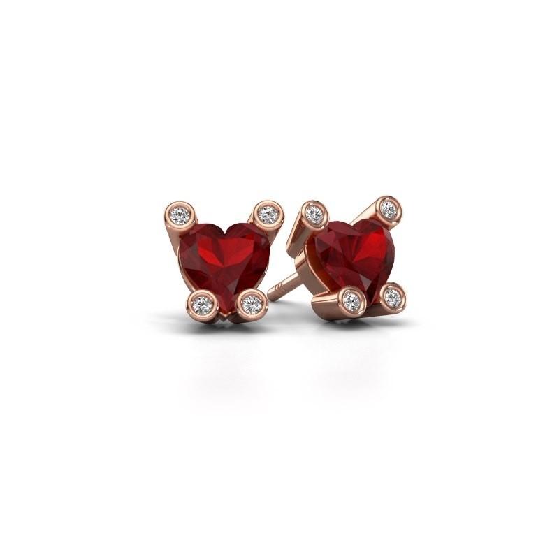 Oorstekers Cornelia Heart 375 rosé goud robijn 6 mm