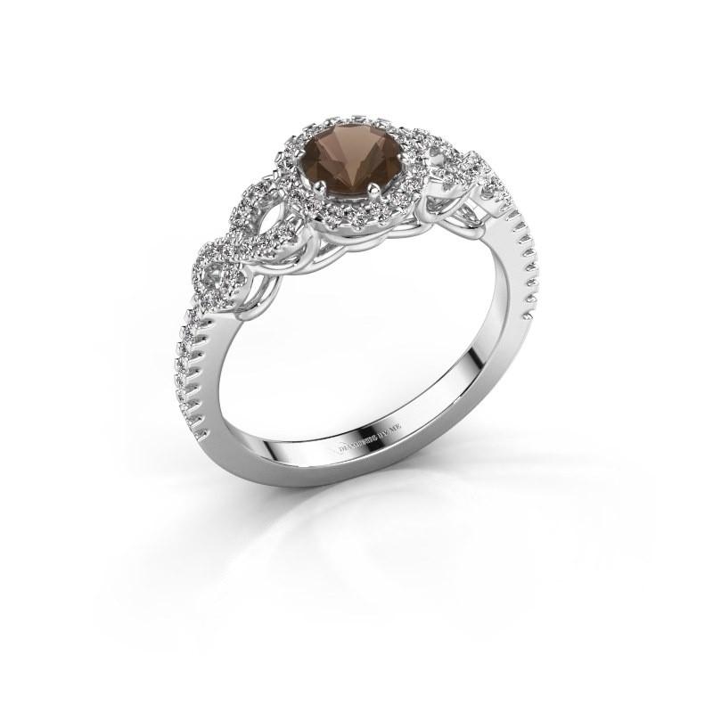 Engagement ring Sasja 925 silver smokey quartz 5 mm