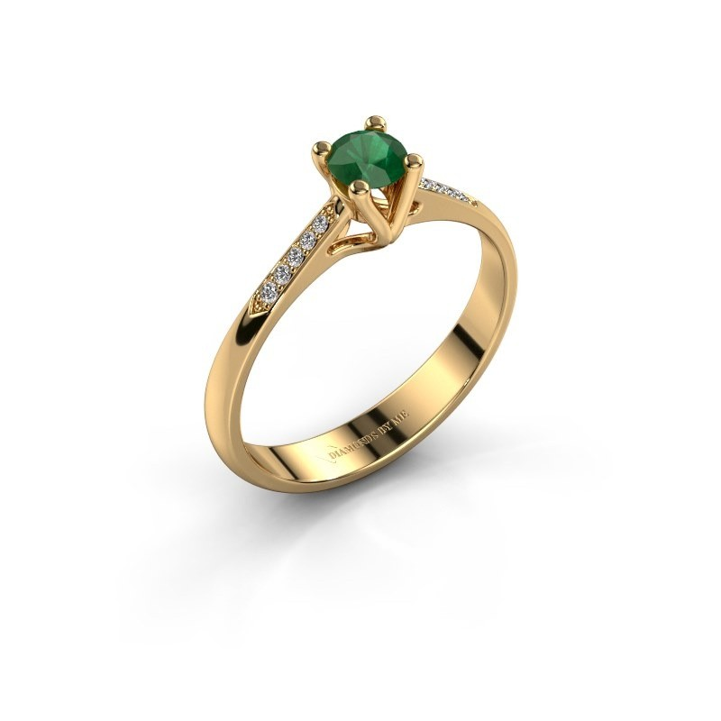 Promise ring Janna 2 375 goud smaragd 4 mm