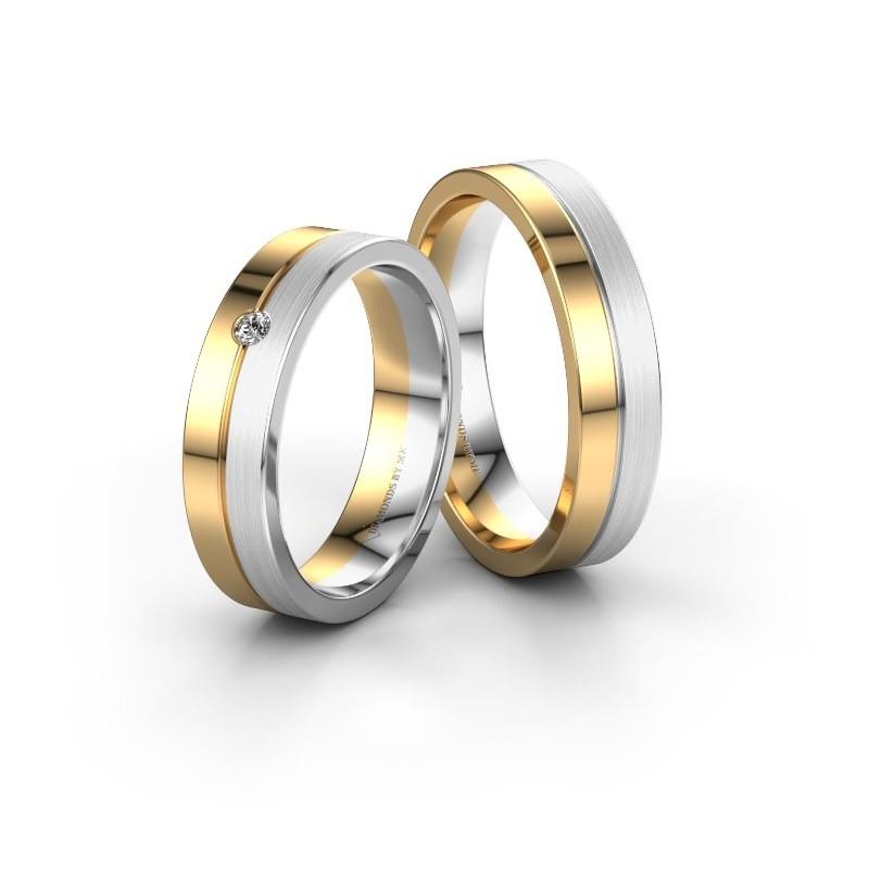 Trouwringen set WH0201LM15APM ±5x1.7 mm 14 karaat goud diamant 0.03 crt
