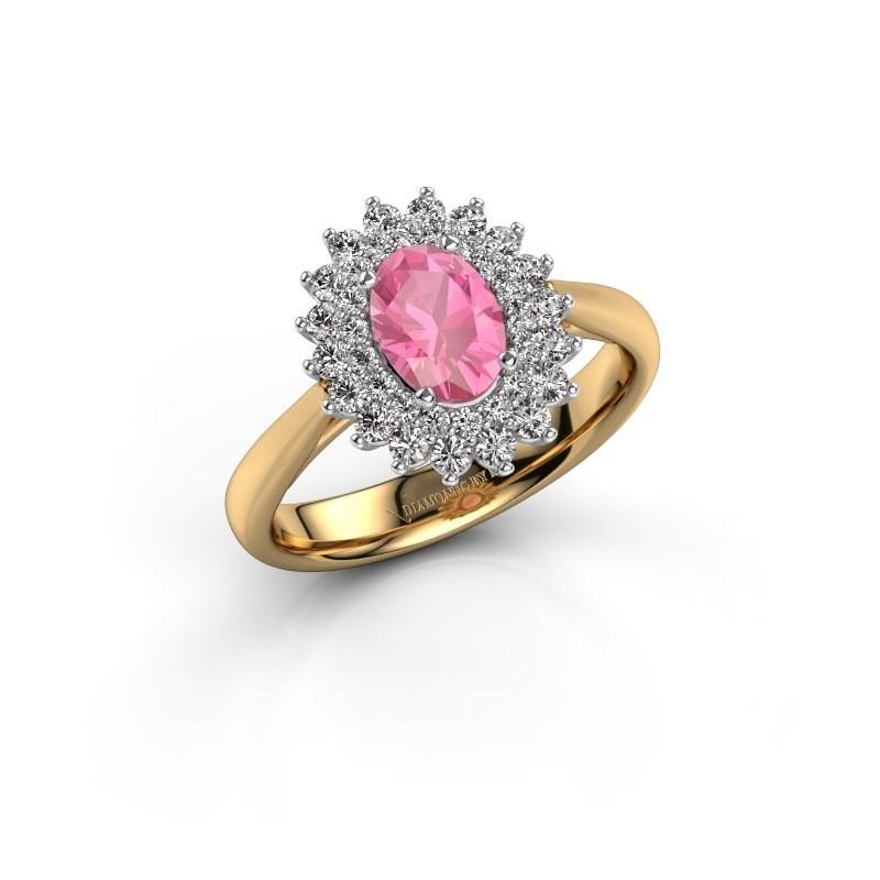 Verlovingsring Alina 1 585 goud roze saffier 7x5 mm