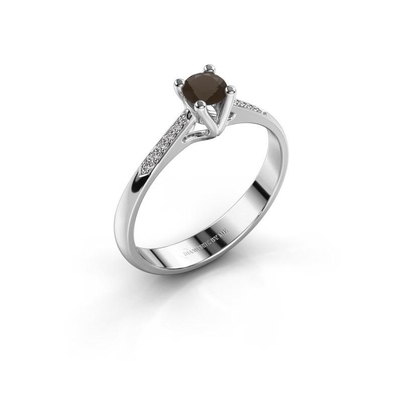 Promise ring Janna 2 950 platina rookkwarts 4 mm