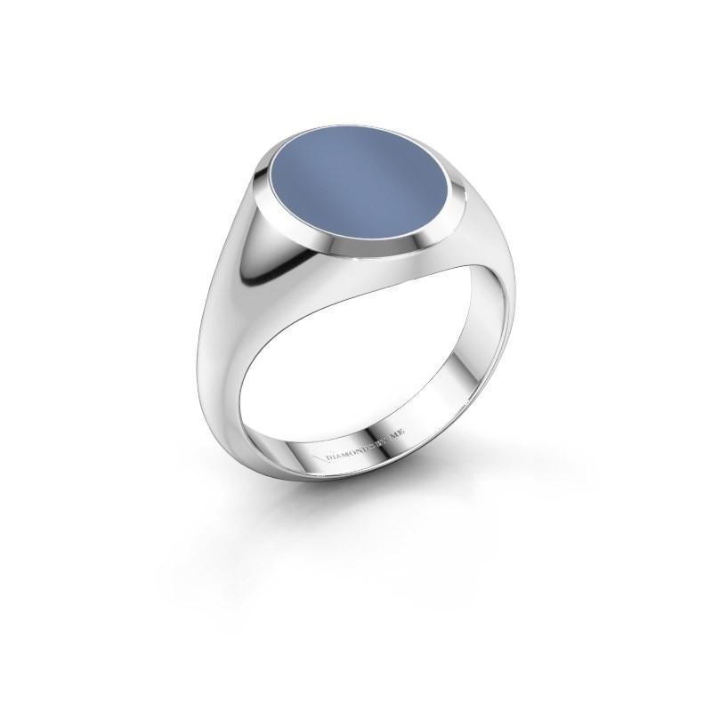Zegelring Herman 3 950 platina licht blauwe lagensteen 13x11 mm