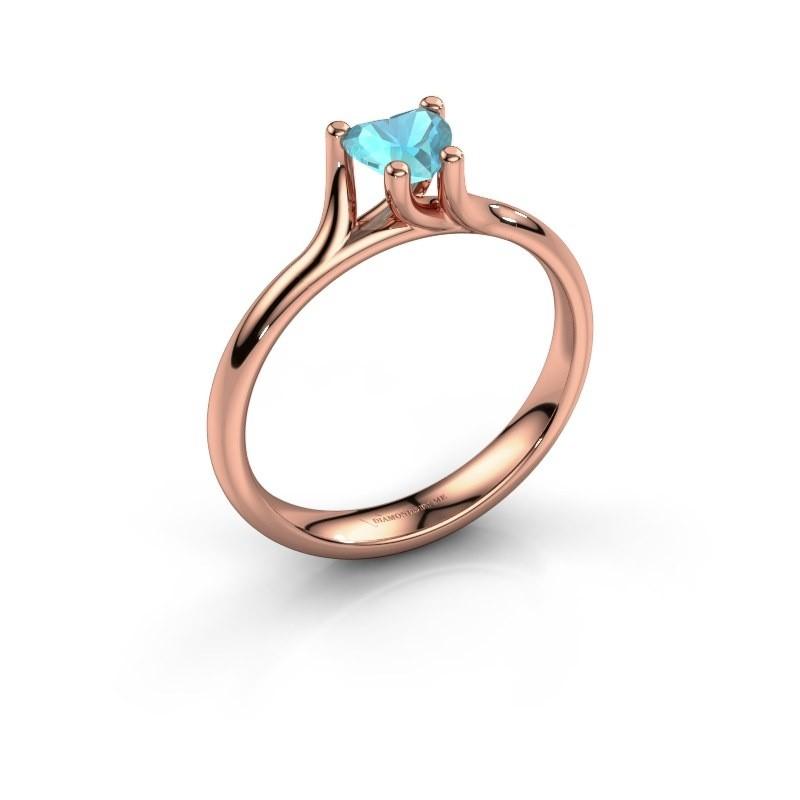 Verlobungsring Dewi Heart 375 Roségold Blau Topas 5 mm
