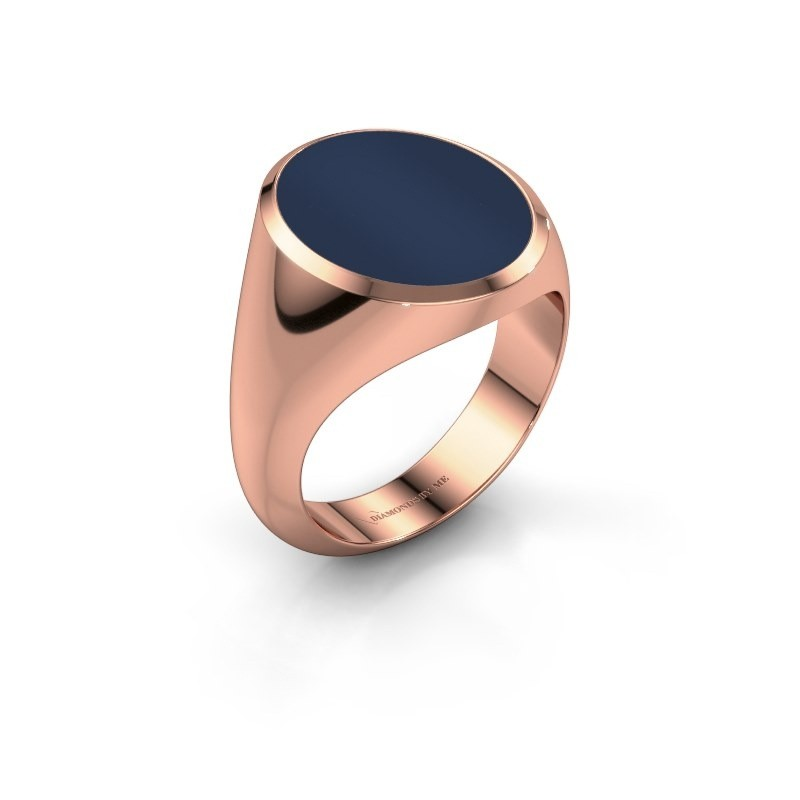 Signet ring Herman 6 375 rose gold dark blue sardonyx 16x13 mm
