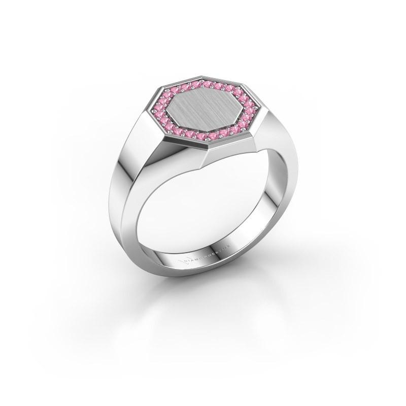 Heren ring Floris Octa 2 925 zilver roze saffier 1.2 mm