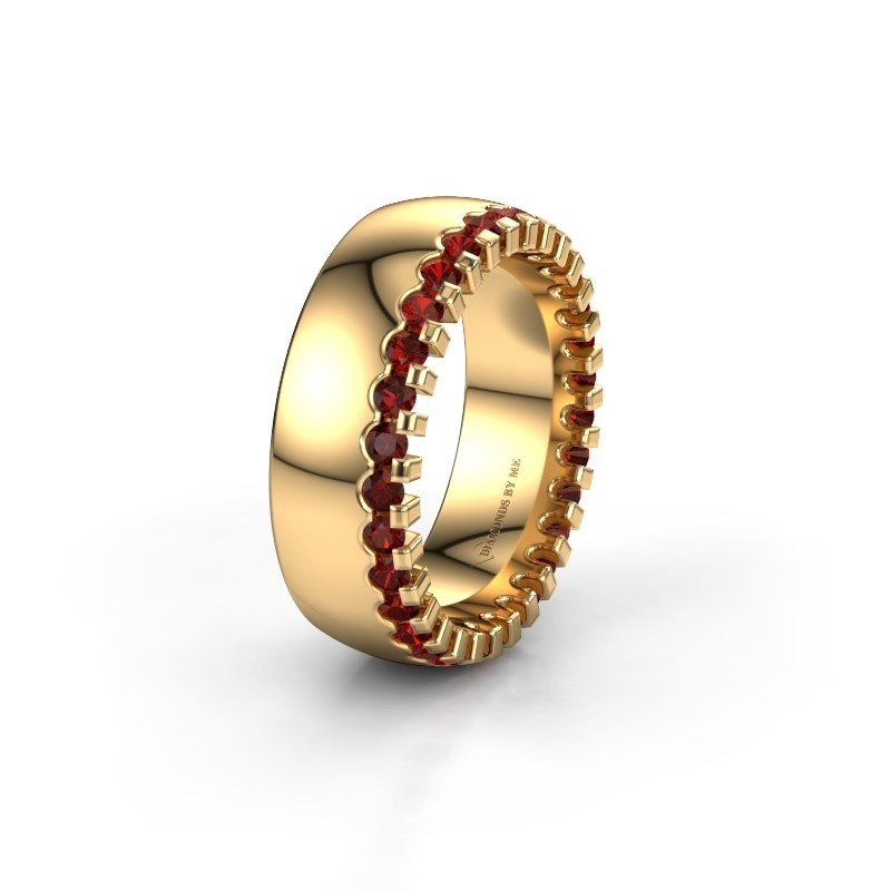 Wedding ring WH6120L27C 375 gold garnet ±7x2.2 mm