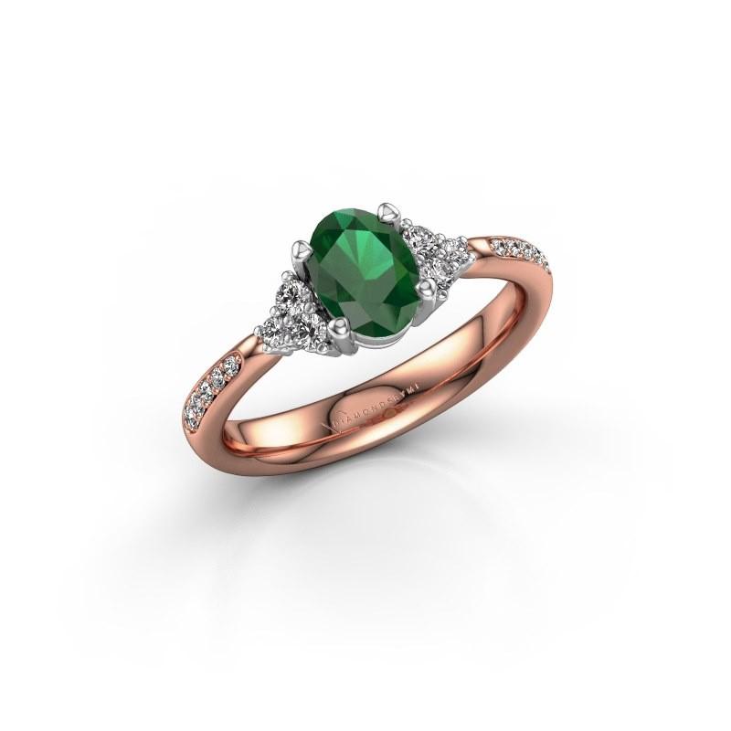 Engagement ring Aleida OVL 2 585 rose gold emerald 7x5 mm