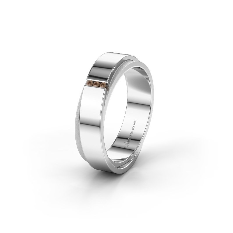 Trouwring WH6012LX6A 585 witgoud bruine diamant ±6x1.7 mm