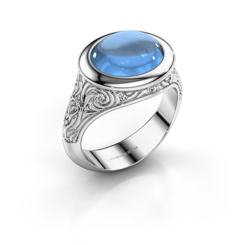 Ring Natacha 950 platina blauw topaas 12x10 mm