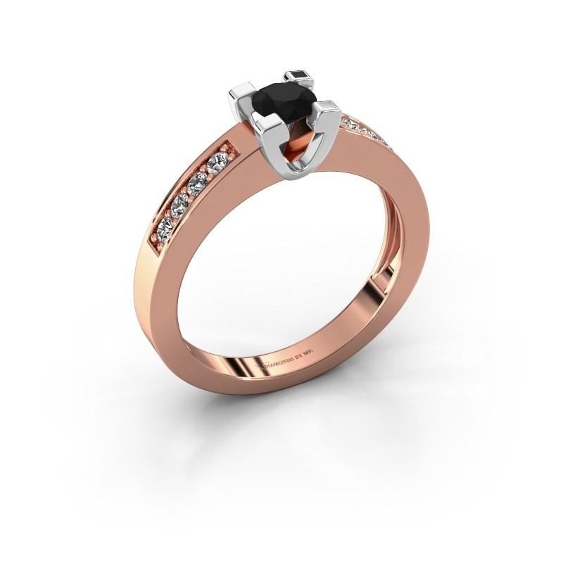 Aanzoeksring Anne 2 585 rosé goud zwarte diamant 0.36 crt