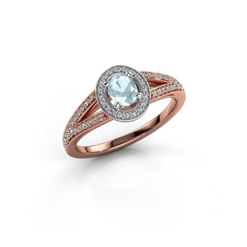 Verlovings ring Angelita OVL 585 rosé goud aquamarijn 6x4 mm