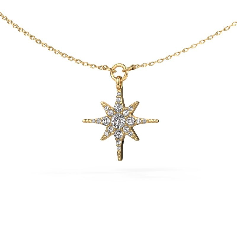 Collier Star 375 or jaune diamant synthétique 0.29 crt