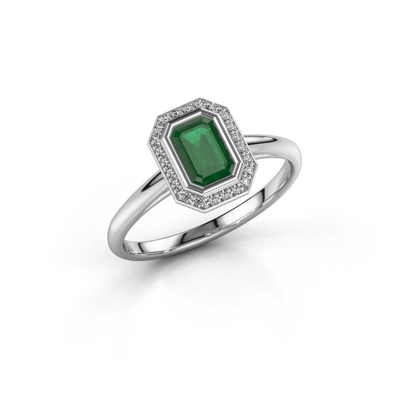 Verlovingsring Noud 1 EME 925 zilver smaragd 6x4 mm
