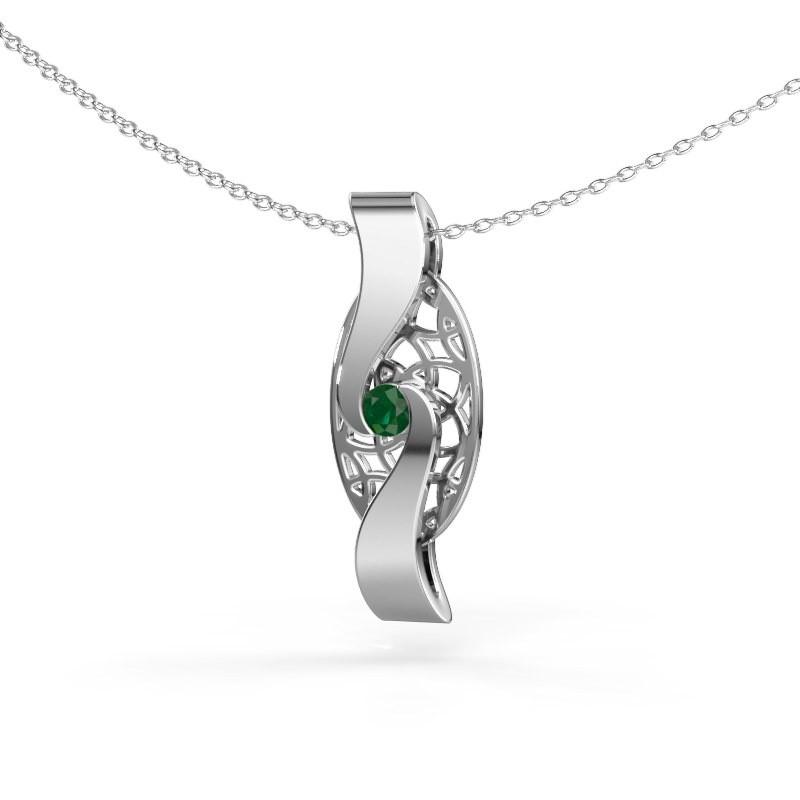 Hanger Darleen 585 witgoud smaragd 3 mm