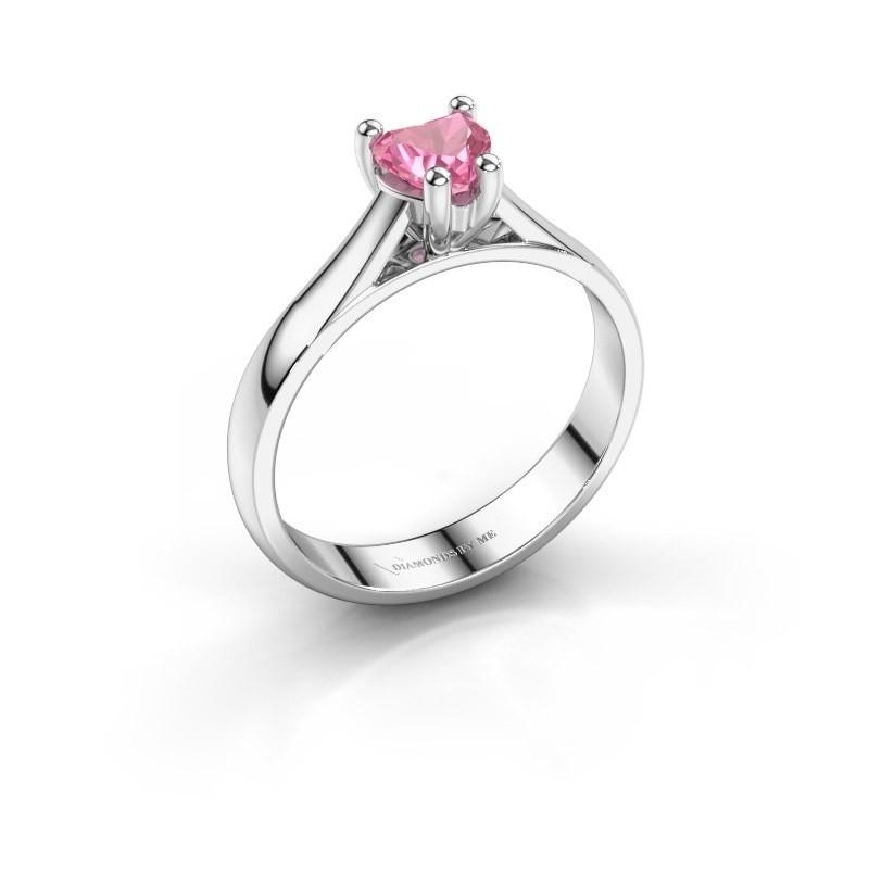 Verlobungsring Sam Heart 585 Weißgold Pink Saphir 5 mm