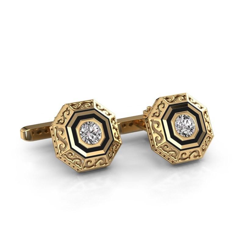 Manchetknopen Dion 585 goud zirkonia 5 mm
