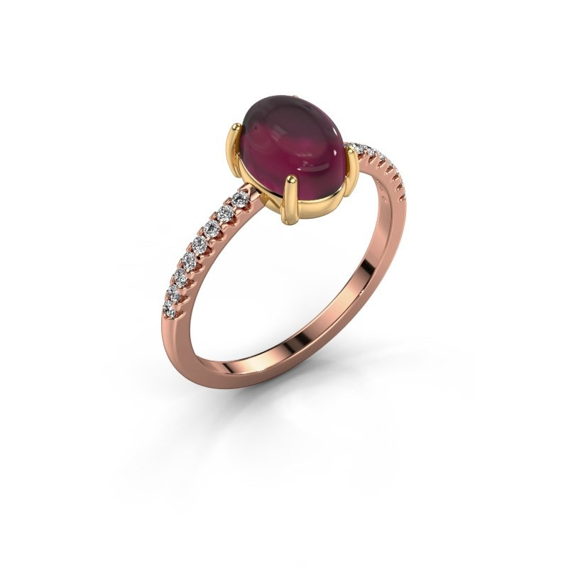 Ring Becky 585 rose gold rhodolite 8x6 mm