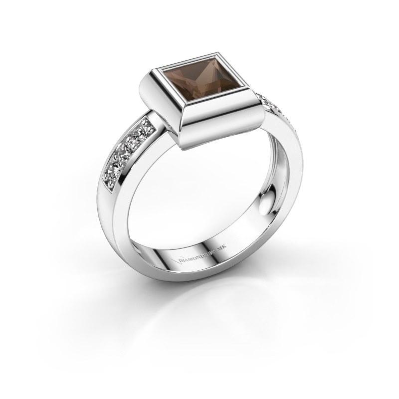 Ring Charlotte Square 585 white gold smokey quartz 5 mm