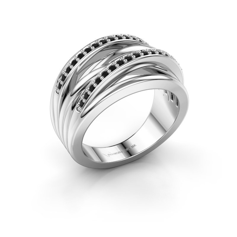 Ring Annabel 2 925 zilver zwarte diamant 0.288 crt