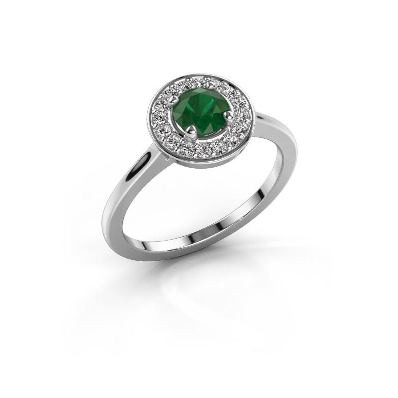 Ring Agaat 1 585 witgoud smaragd 5 mm