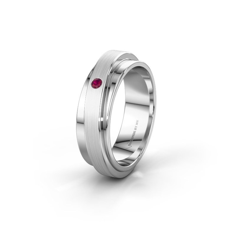 Huwelijksring WH2220L16D 585 witgoud rhodoliet ±6x2.2 mm