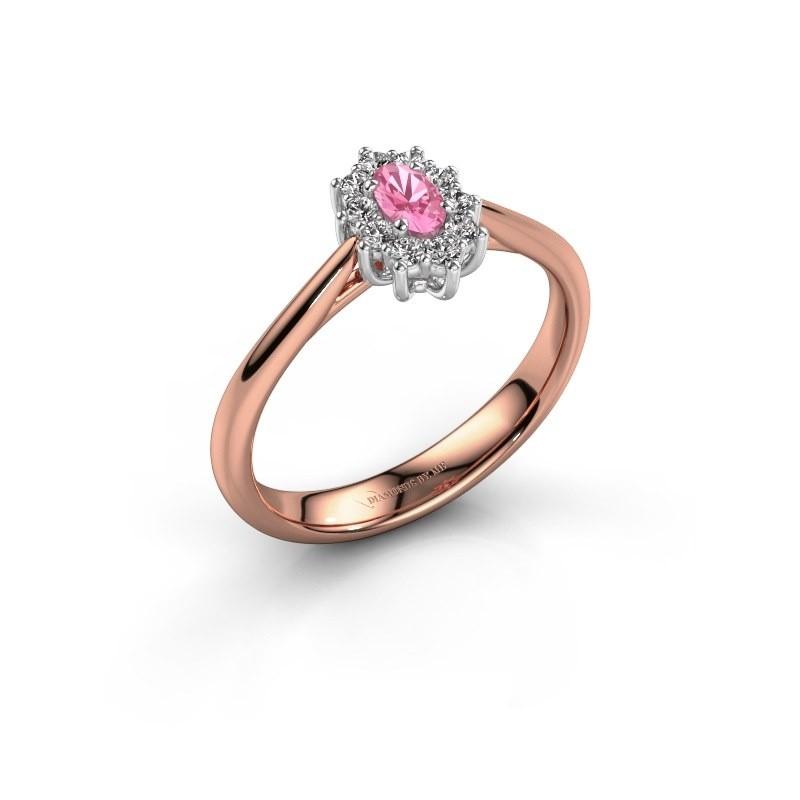 Verlovingsring Leesa 1 585 rosé goud roze saffier 6x4 mm