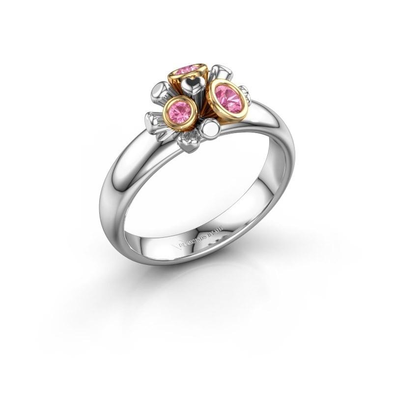 Ring Pameila 585 witgoud roze saffier 2 mm