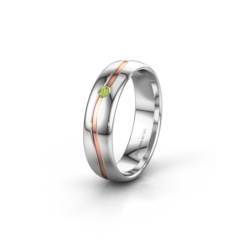 Wedding ring WH0905L35X 585 white gold peridot ±5x1.7 mm
