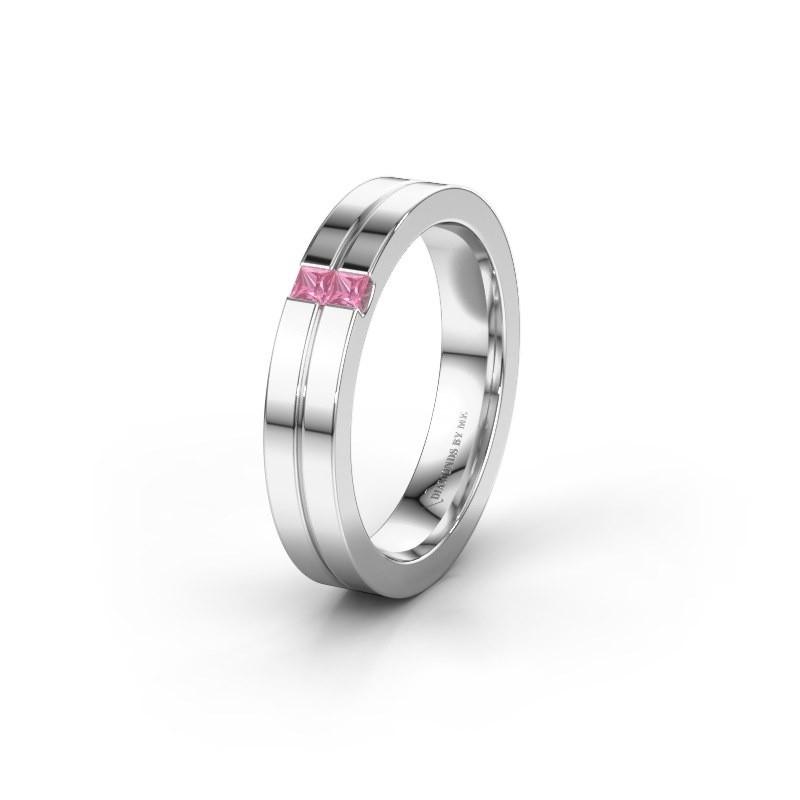 Trouwring WH0225L14B 585 witgoud roze saffier ±4x2 mm