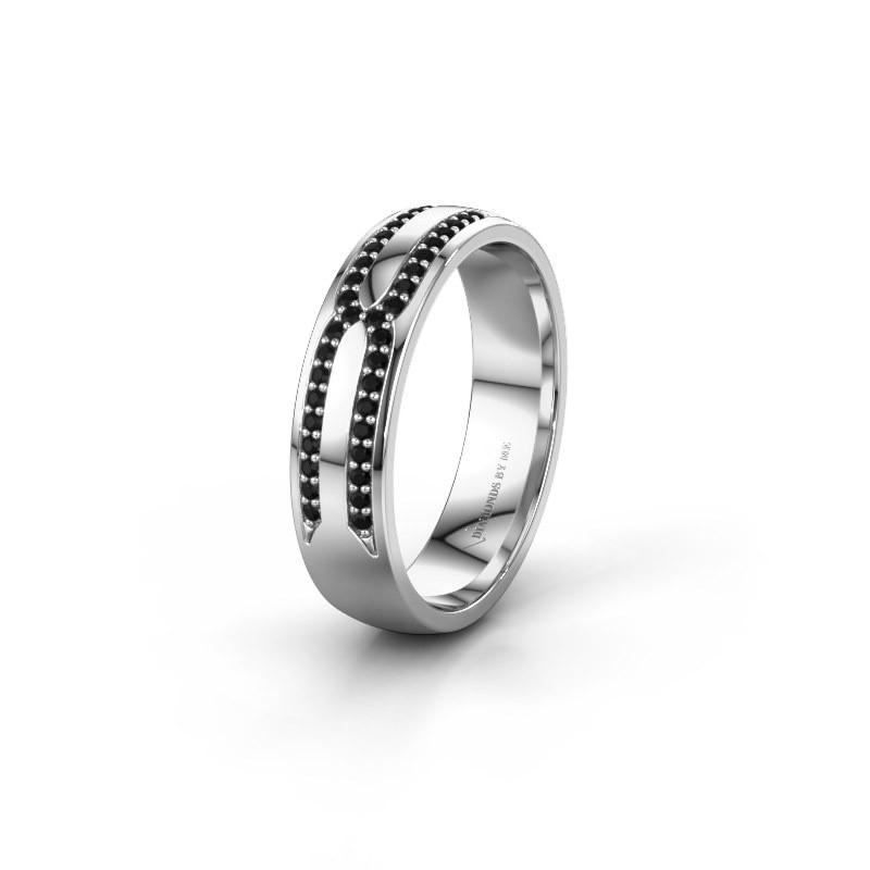 Trouwring WH2212L25AP 585 witgoud zwarte diamant ±5x1.7 mm