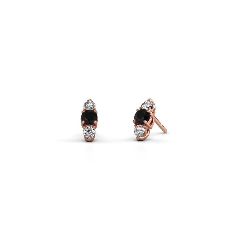 Oorbellen Amie 375 rosé goud zwarte diamant 1.00 crt