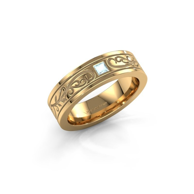 Men's ring Matijs 375 gold aquamarine 3 mm