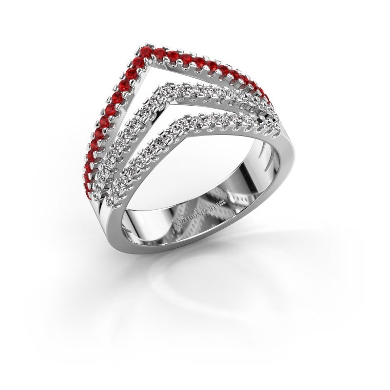 Ring Kendra 585 white gold ruby 1.2 mm