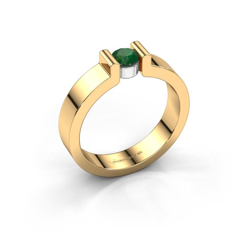 Verlovingsring Isabel 1 585 goud smaragd 4 mm