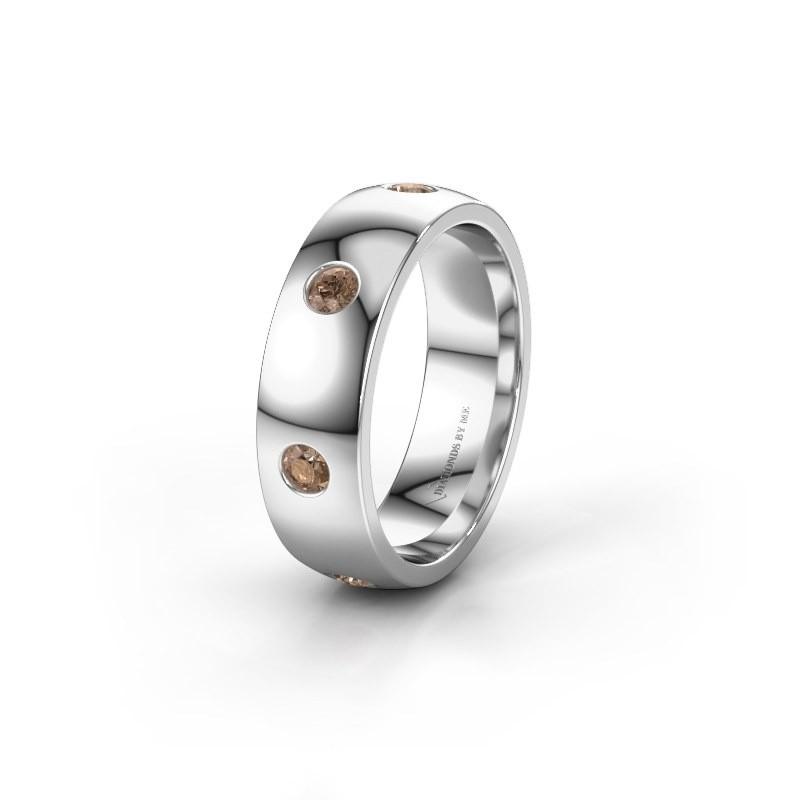 Wedding ring WH0105L26BP 950 platinum brown diamond ±0.24x0.08 in