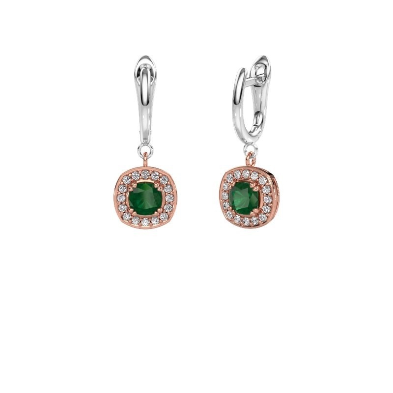 Drop earrings Marlotte 1 585 rose gold emerald 5 mm