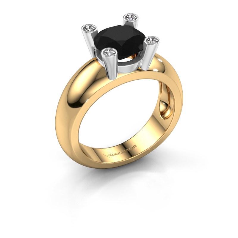 Bague Tamara RND 585 or jaune diamant noir 2.40 crt