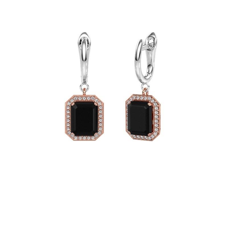 Drop earrings Dodie 1 585 rose gold black diamond 3.00 crt