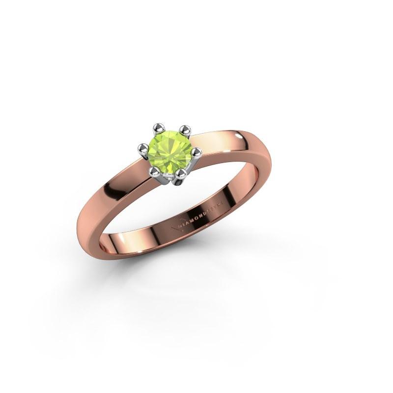 Engagement ring Luna 1 585 rose gold peridot 3.7 mm