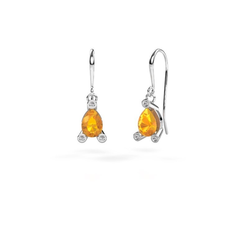 Drop earrings Bunny 1 375 white gold citrin 7x5 mm