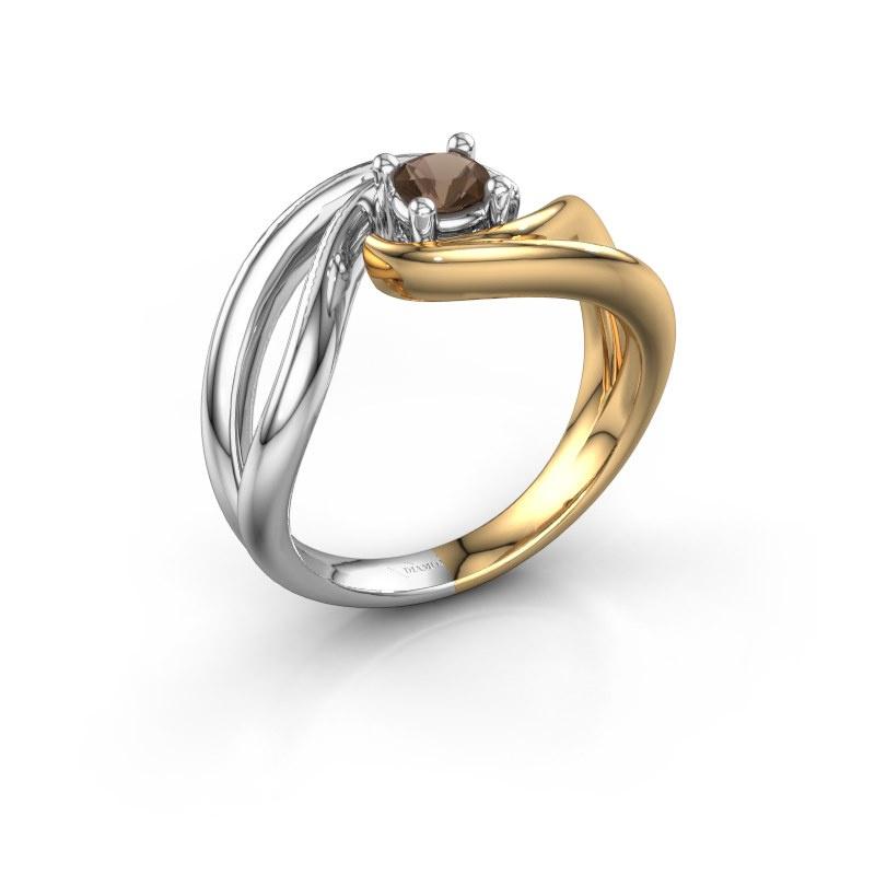 Ring Kyra 585 gold smokey quartz 4 mm