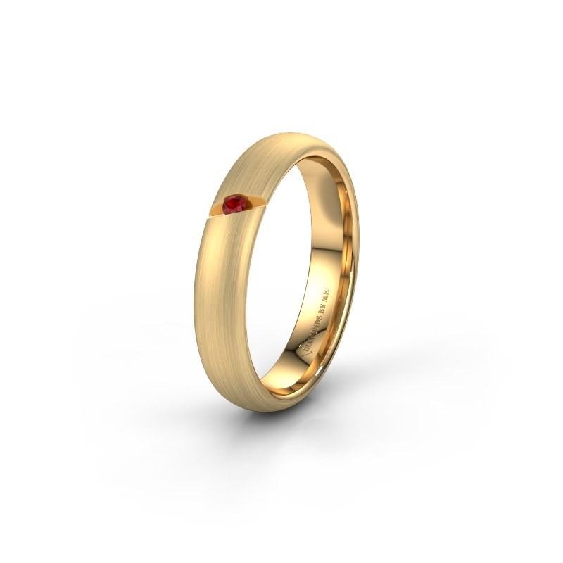 Trouwring WH0176L34AP 375 goud robijn ±4x1.7 mm